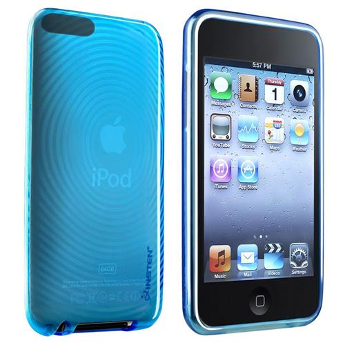 Insten TPU Rubber Skin Case for Apple iPod touch 2nd / 3rd Gen, Clear Blue Concentric Circle