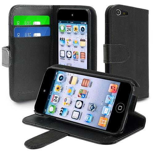Insten Leather Wallet Case with Card Holder for Apple iPod touch 5th/6th Generation, Black