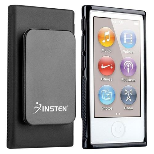 Insten TPU Rubber Skin Case with Belt Clip Compatible with Apple iPod nano 7th Generation, Black