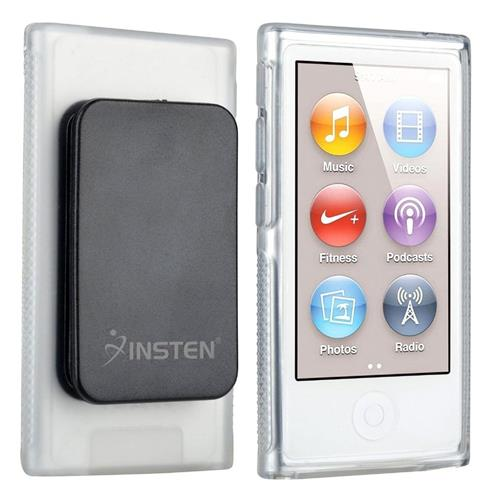 Insten TPU Rubber Skin Case with Belt Clip Compatible with Apple iPod nano 7th Generation, Clear