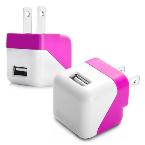 Insten USB Mini Travel Charger , Hot Pink