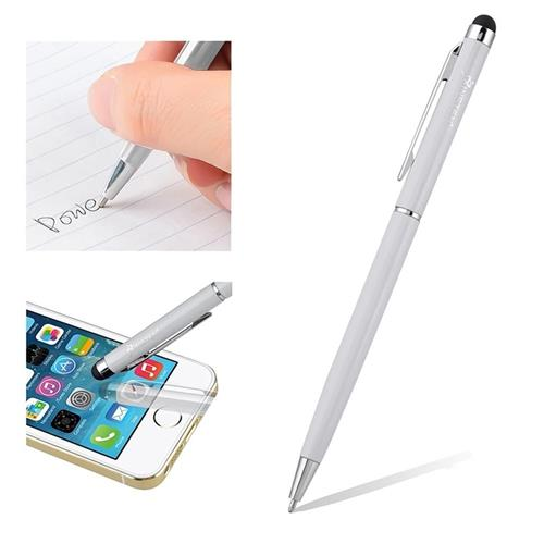 Insten 2-in-1 Capacitive Touch Screen Stylus Ballpoint Pen, Silver