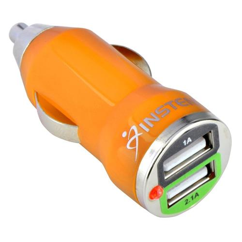 Insten 2-Port 2A USB Mini Car Charger Adapter, Orange