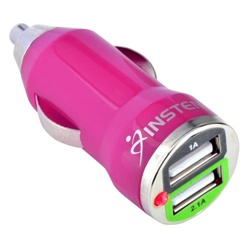 Insten Dual 2A USB Mini Car Charger Adapter, Hot Pink