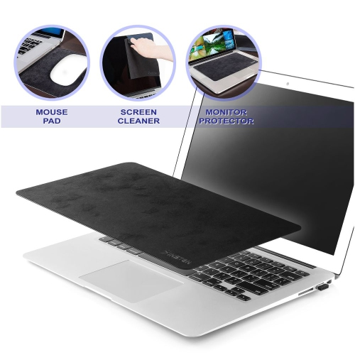 "Insten 3-in-1 Microfiber Mouse Pad Mat with Monitor Protection & Cleaning for Laptop Notebook up to 12.5"", Black"