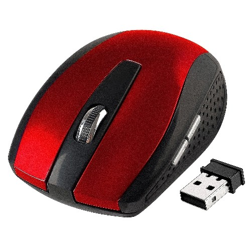Insten Wireless Mouse Cordless Optical USB 2.4G with Side Buttons Controls for Notebook Laptop PC & Mac, Red