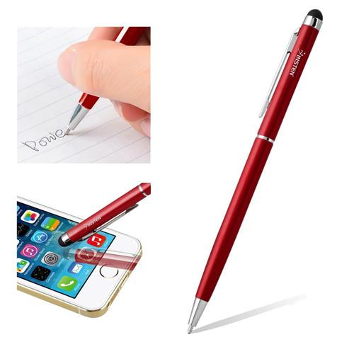 Insten 2-in-1 Capacitive Touch Screen Stylus Ballpoint Pen, Red