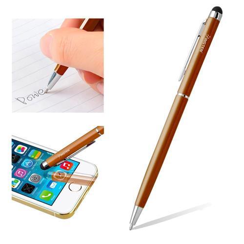 Insten 2-in-1 Capacitive Touch Screen Stylus Ballpoint Pen, Orange