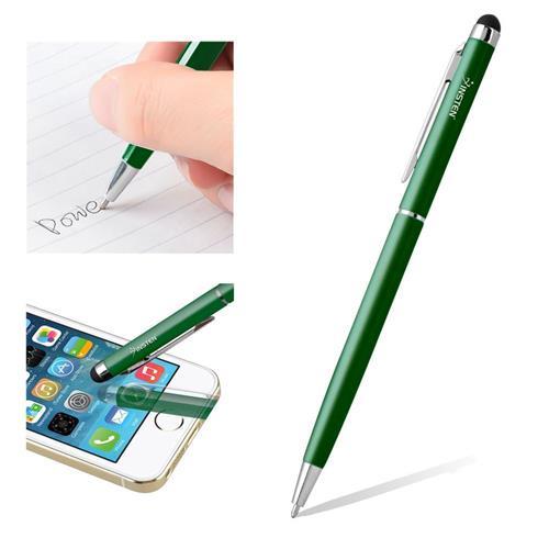Insten 2-in-1 Capacitive Touch Screen Stylus Ballpoint Pen, Dark Green