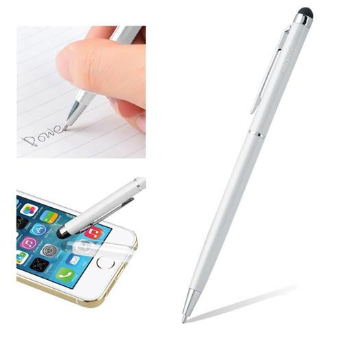 Insten 2-in-1 Capacitive Touch Screen Stylus Ballpoint Pen, White