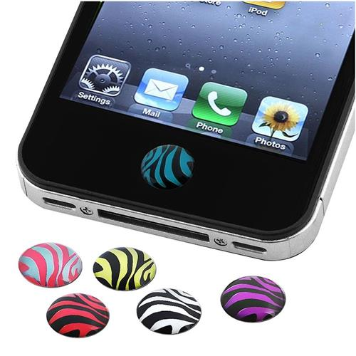 Insten 6 Pieces Home Button Sticker compatible with Apple iPhone / iPad / iPod touch, Zebra Patterns