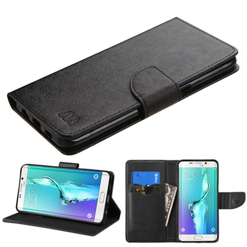 Insten Book-Style Leather Fabric Case w/stand For Samsung Galaxy S6 Edge Plus, Black