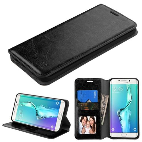 Insten Folio Leather Fabric Case w/stand For Samsung Galaxy S6 Edge Plus, Black