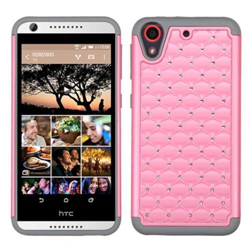 Insten Hard Hybrid Rubber Silicone Cover Case w/Diamond For HTC Desire 626/626s, Pink/Gray