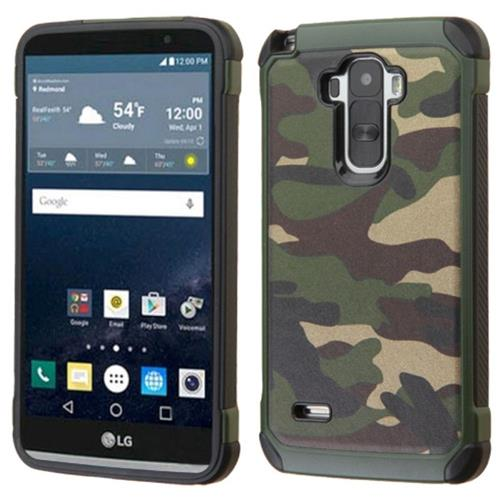 Insten Camouflage Hard Dual Layer Silicone Case For LG G Stylo, Green/Black