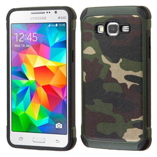 Insten Camouflage Hard Dual Layer Rubber Silicone Case For Samsung Galaxy Grand Prime, Green/Black