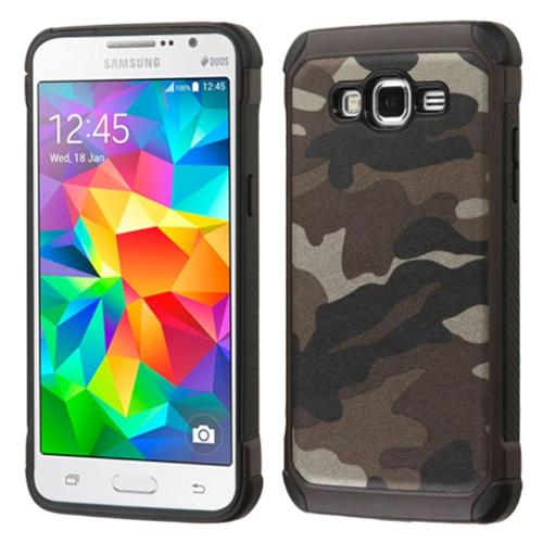 Insten Camouflage Hard Hybrid Silicone Cover Case For Samsung Galaxy Grand Prime, Gray/Black