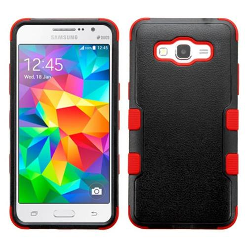 Insten Tuff Hard Hybrid Silicone Case For Samsung Galaxy Grand Prime, Black/Red