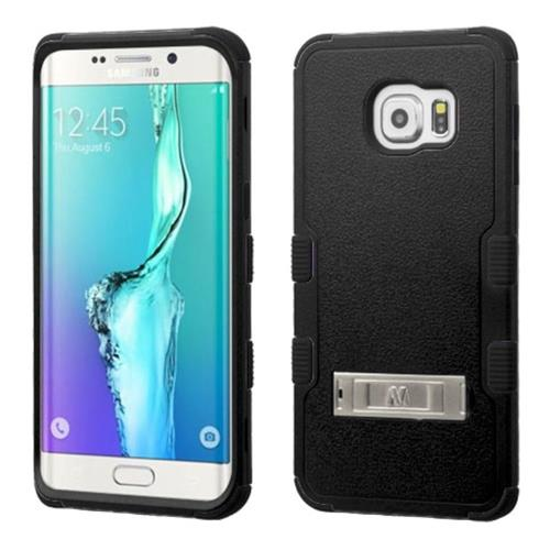 Insten Hard Dual Layer Rubber Silicone Case w/stand For Samsung Galaxy S6 Edge Plus, Black