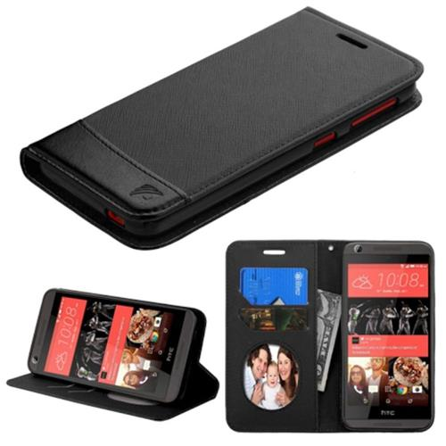 Insten Flip Leather Fabric Case w/stand/card holder For HTC Desire 626/626s, Black