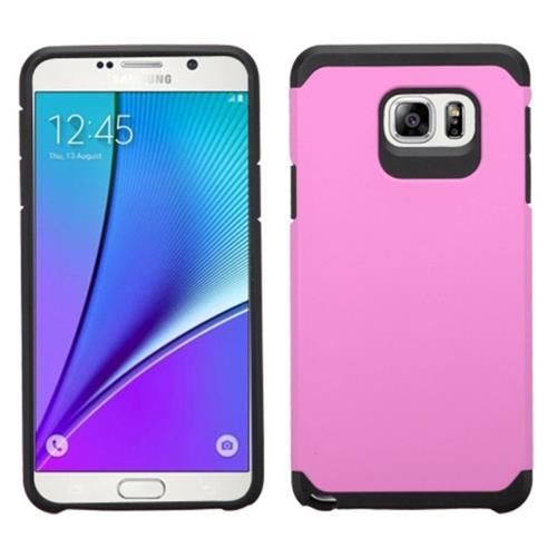 Insten Hard Hybrid Rubberized Silicone Cover Case For Samsung Galaxy Note 5, Pink/Black
