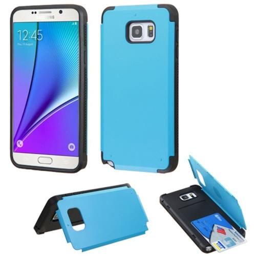 Insten Hard Rubberized Case w/card holder For Samsung Galaxy Note 5, Teal