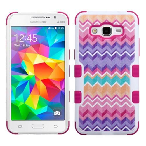 Insten Tuff Camo Wave Hard Hybrid Silicone Case For Samsung Galaxy Grand Prime, Hot Pink/Purple