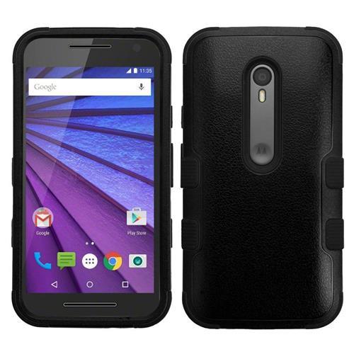 Insten Tuff Hard Hybrid Rubber Coated Silicone Case For Motorola Moto G(3rd Gen), Black