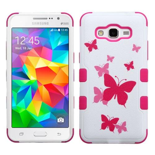 Insten Butterfly Dancing Hard Dual Layer Silicone Case For Samsung Galaxy Grand Prime,Pink/White