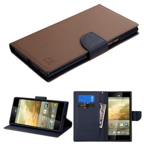 Insten Flip Leather Fabric Case w/stand/card holder For ZTE Warp Elite, Brown/Blue