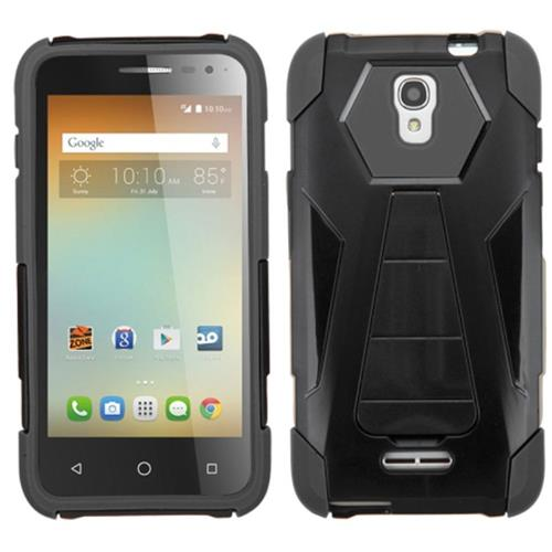 Insten Hard Hybrid Plastic Silicone Case w/stand For Alcatel One Touch Elevate, Black
