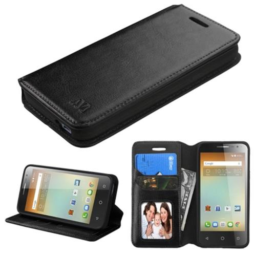 Insten Leather Fabric Case w/stand/card holder For Alcatel One Touch Elevate,Black
