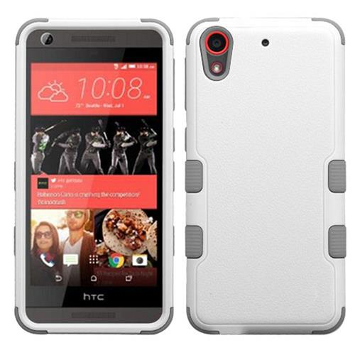 Insten Tuff Hard Hybrid Rubber Coated Silicone Cover Case For HTC Desire 626/626s, White/Gray