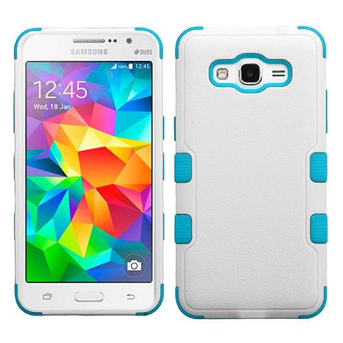 Insten Tuff Hard Dual Layer Rubber Coated Silicone Case For Samsung Galaxy Grand Prime, White/Teal