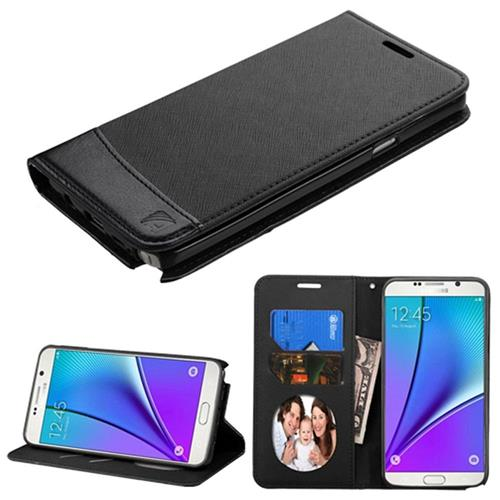 Insten Leather Fabric Case w/stand/card holder For Samsung Galaxy Note 5,Black