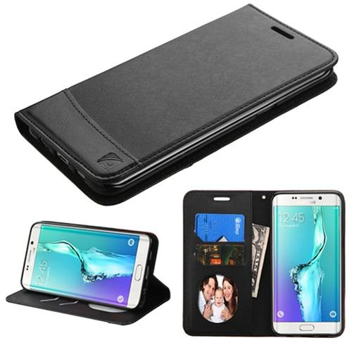 Insten Flip Leather Fabric Case w/stand/card slot For Samsung Galaxy S6 Edge Plus,Black