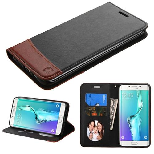Insten Leather Fabric Case w/stand/card holder For Samsung Galaxy S6 Edge Plus,Black/Brown
