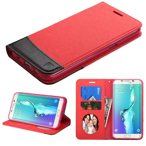 Insten Flip Leather Fabric Case w/stand/card slot For Samsung Galaxy S6 Edge Plus,Red/Black