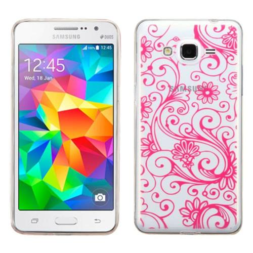 Insten Four-leaf Clover TPU Cover Case For Samsung Galaxy Grand Prime, Hot Pink