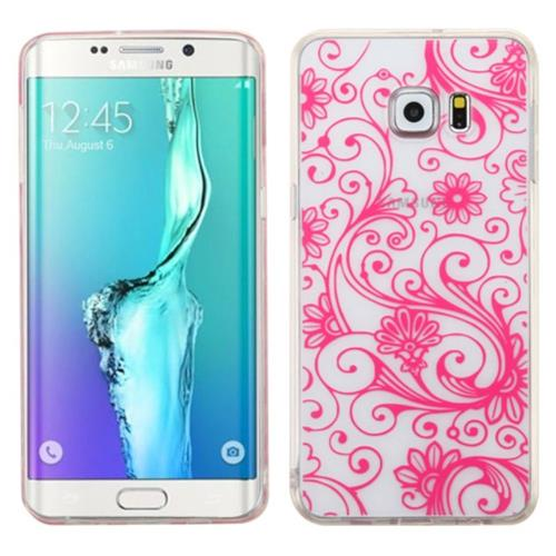 Insten Four-leaf Clover Gel Cover Case For Samsung Galaxy S6 Edge Plus, Hot Pink