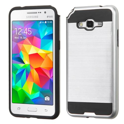 Insten Hard Dual Layer Rubber Coated Silicone Case For Samsung Galaxy Grand Prime, Silver/Black