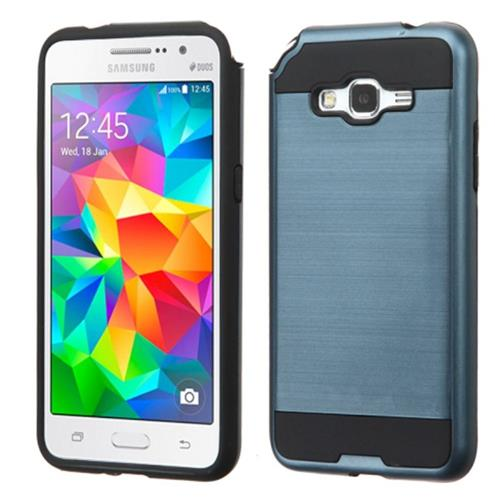Insten Hard Hybrid Rubber Coated Silicone Cover Case For Samsung Galaxy Grand Prime, Blue/Black