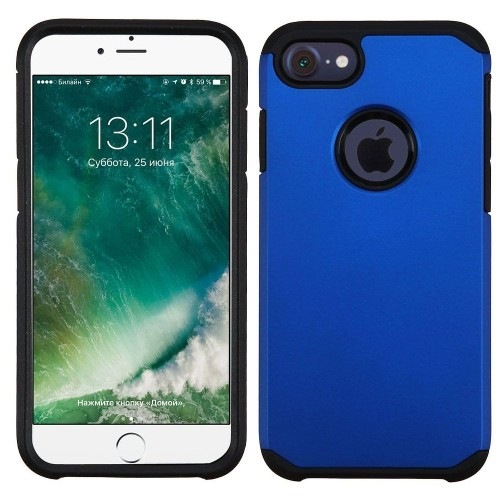 Insten Hard Hybrid Rubberized Silicone Cover Case For Apple iPhone 7/iPhone 8, Blue/Black