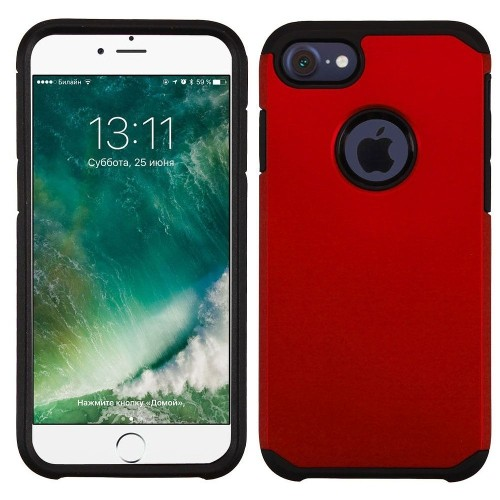 Insten Hard Dual Layer Rubber Coated Silicone Cover Case For Apple iPhone 7/iPhone 8, Red/Black