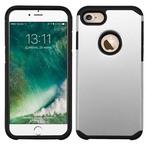 Insten Hard Hybrid Rubberized Silicone Case For Apple iPhone 7/iPhone 8, Silver/Black