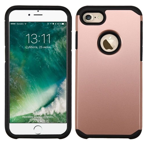 Insten Hard Dual Layer Silicone Case For Apple iPhone 7/iPhone 8, Rose Gold/Black