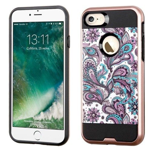 Insten European Flowers Hard Dual Layer TPU Cover Case For Apple iPhone 7/iPhone 8, Purple/White