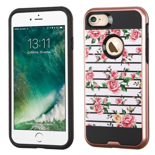 Insten Fresh Roses Hard Hybrid TPU Cover Case For Apple iPhone 7/iPhone 8, Pink/White