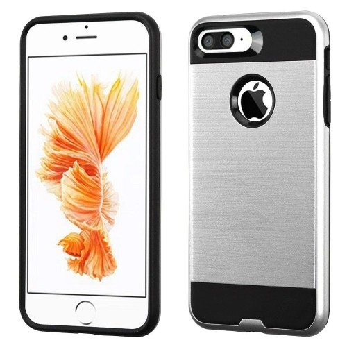 Insten Hard Hybrid TPU Case For Apple iPhone 7 Plus/8 Plus, Silver/Black