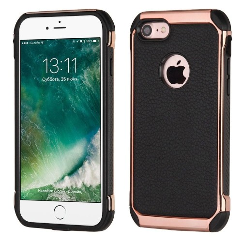 Insten Hard Dual Layer TPU Case For Apple iPhone 7/iPhone 8, Black/Rose Gold